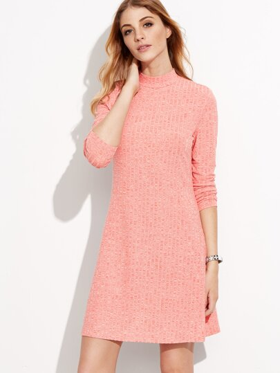 Pink Ribbed Funnel Neck Long Sleeve Short Dress