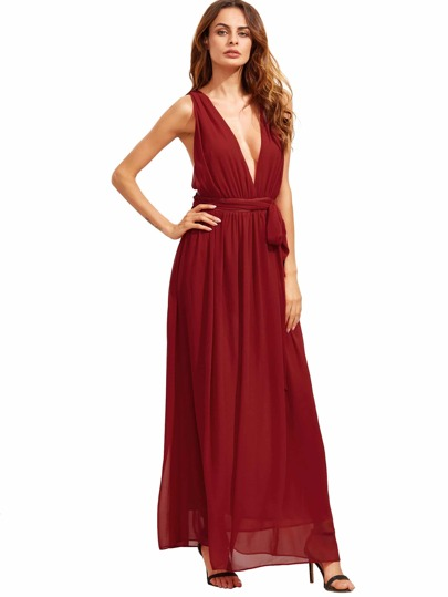 Red Deep V Neck Self-tie Waist Maxi Dress