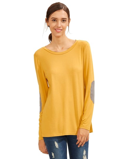 Yellow Long Sleeve Elbow Patch T-Shirt