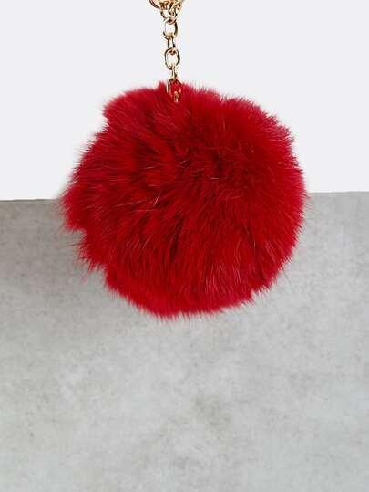 Pom Pom Ball Keychain RED