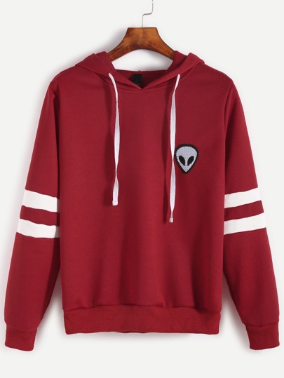 Varsity Striped Alien Embroidered Hooded Sweatshirt