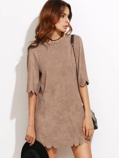 Camel Faux Suede Scallop Mini Dress