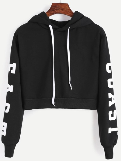 Black Hooded Letters Print Crop Sweatshirt