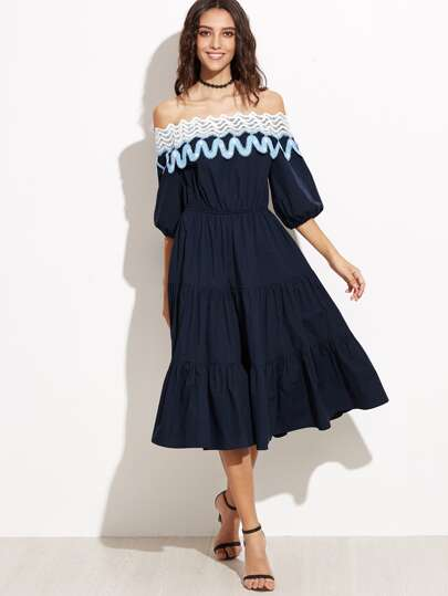 Navy Lace Trim Off The Shoulder Tiered Dress