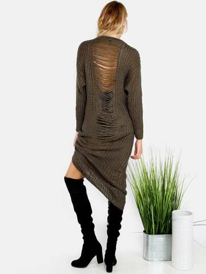 Frayed Knit Sweater Dress OLIVE