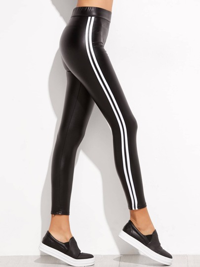 Black Side Stripe PU Leggings