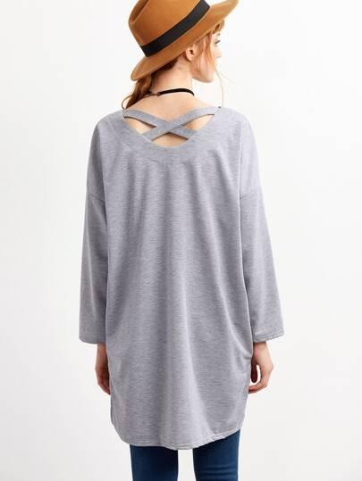 Grey Dip Hem V Neck Crisscross-Back T-shirt