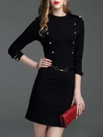 Vestido ajustado con cinturón y cremallera - negro