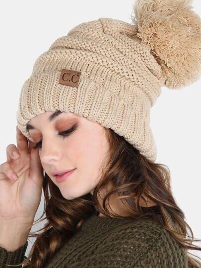 Slouchy Knit Pom Pom Hat TAUPE