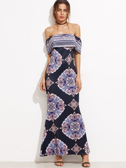 Navy Floral Off The Shoulder Sheath Dress