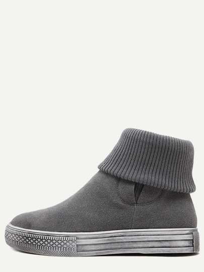 Grey Nubuck Leather Rubber Sole Ankle Knit Boots