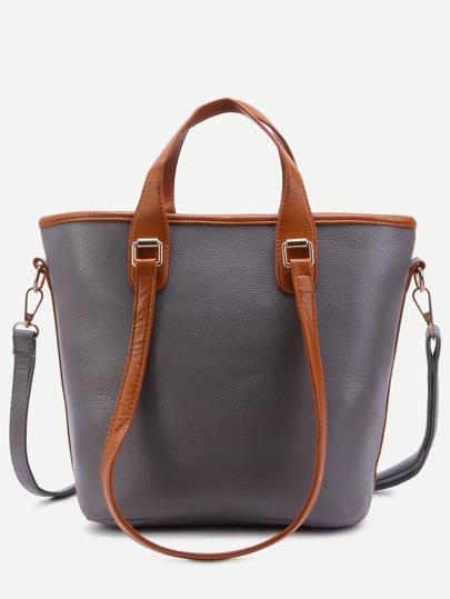 Grey Pebbled PU Handbag With Convertible Strap