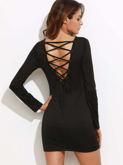 Black Lace Up V Back Bodycon Dress
