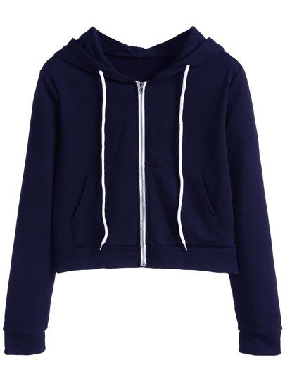 Navy Zip Up Pocket Hooded Sweatshirt