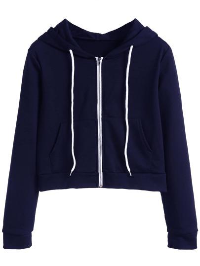 Sudadera con capucha y bolsillo - azul marino