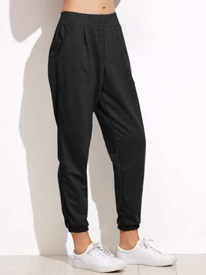 Elastic Waist Tapered Leg Pants