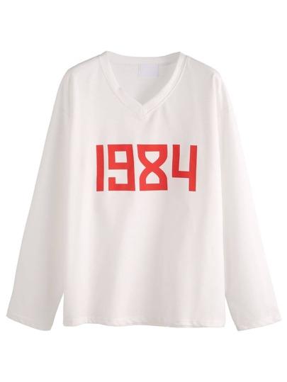 White V Neck Number Print T-shirt