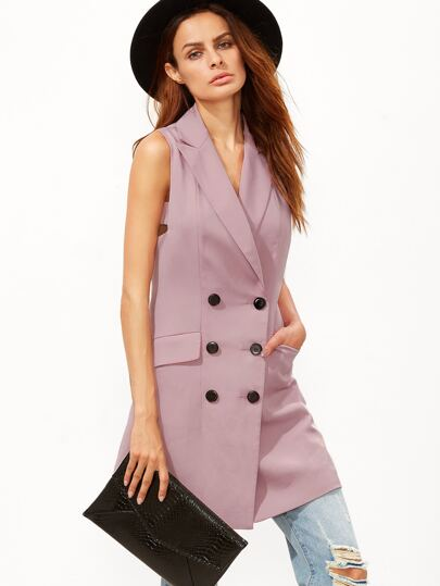 Purple Double Breasted Cutout Armhole Sleeveless Blazer