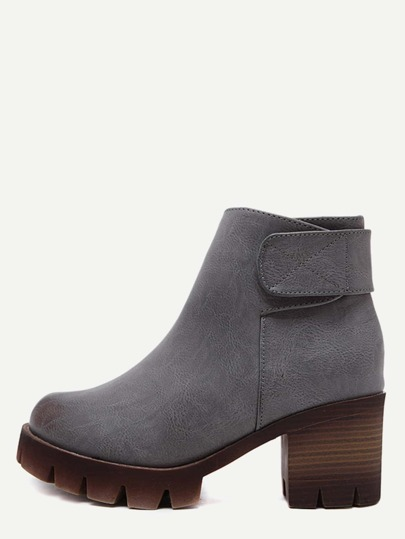 Grey Faux Leather Ankle Velcro Cork Heel Boots