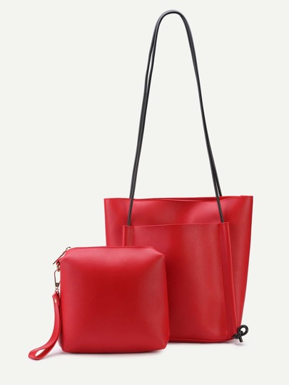 Red PU Front Pocket Shoulder Bag With Handbag