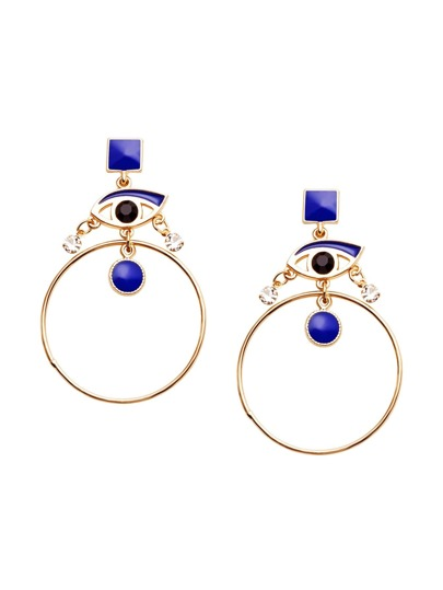 Blue Eye Rhinestone Circle Drop Earrings