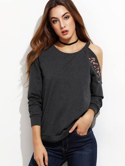 Heather Grey Blossom Embroidered Asymmetric Cold Shoulder Sweatshirt