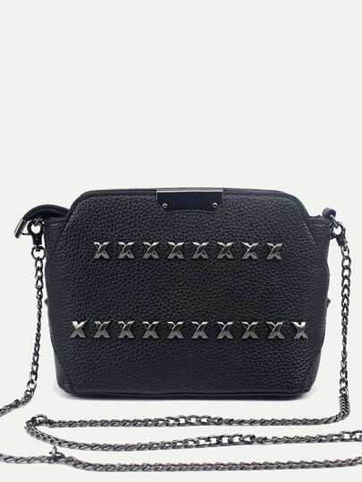 Black Pebbled PU Zip Closure Studded Chain Bag