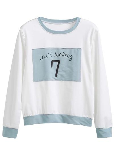 Contrast Trim Letter Print Patch Sweatshirt