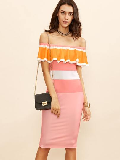 Color Block Off The Shoulder Ruffle Pencil Dress