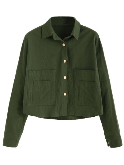 Army Green Pocket Button Front Blouse