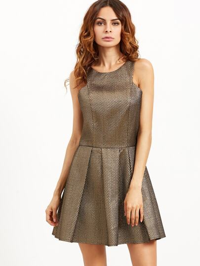 Champagne Racer Neck Pleated Skater Dress