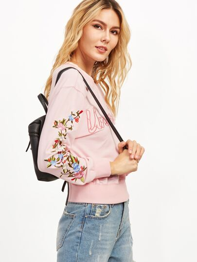 Pink Letter And Floral Embroidered Sweatshirt
