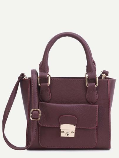 Burgundy Faux Leather Front Pocket Handbag With Strap