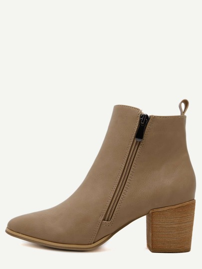Apricot PU Side Zipper Cork Heel Chunky Boots