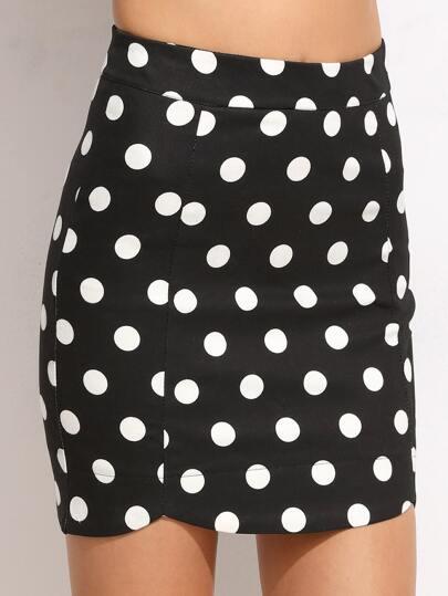 Black Polka Dot Print Bodycon Skirt