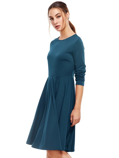 Blue Pleated Long Sleeve A-Line Dress