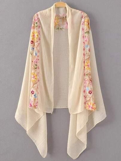 Beige Flower Embroidery Vintage Scarf