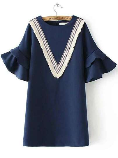 Navy Chevron Pattern Bell Sleeve Ruffle Dress