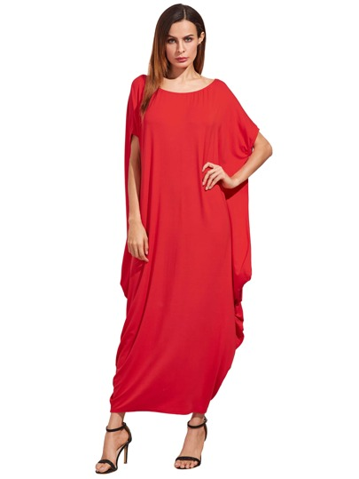 Red One Shoulder Dolman Sleeve Maxi Dress