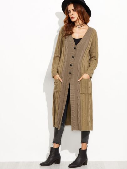Two Tone Cable Knit Button Front Sweater Coat