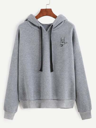 Grey Gesture Print Hooded Sweatshirt