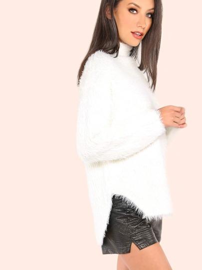Furry Knit Mock Neck Sweater IVORY