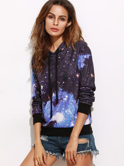 Sweat-shirt imprimé galaxie avec capuche et poche - bleu marine