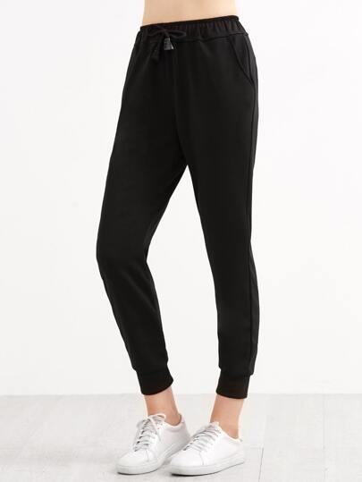 Pantalones con cordón y cremallera lateral - negro