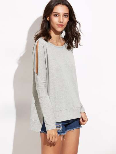 Heather Grey Split Sleeve High Low T-shirt