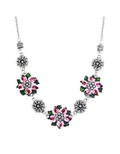 Enamel Flower Rhinestone Shourouk Necklace