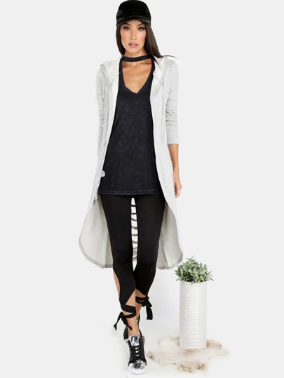 Slashed Open Front Hooded Sweater HEATHER GREY