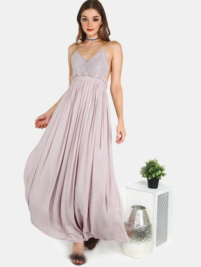 Backless Crochet Pleated Chiffon Maxi Dress MOCHA