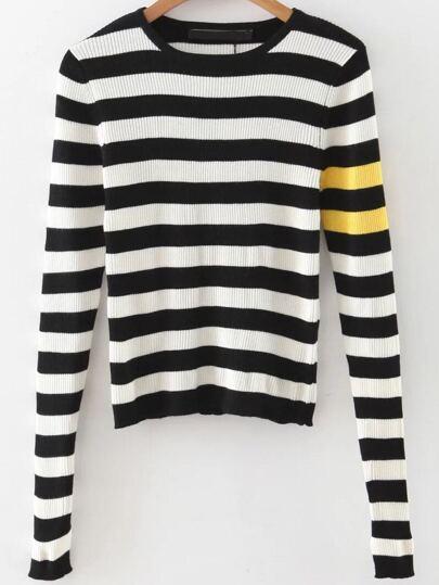 Black Striped Slit Sleeve Crop Knitwear