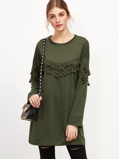 Army Green Drop Shoulder Fringe Trim Long Sweatshirt